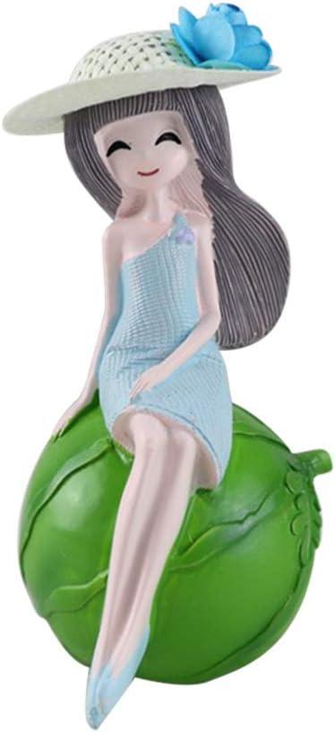 Amosfun Resin Fruit Girl Figurine Ornament Car Interior Decoration Cake Topper Desktop Doll Craft Centerpiece For Christmas Kids Birthday Gifts Lemon