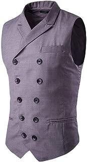 Veste De Costume Pour Hommes Élégant D'Affaires À Loisirs Gilet Double Boutonnage Encolure En V Sans Manches Slim Fit Costume Gilet