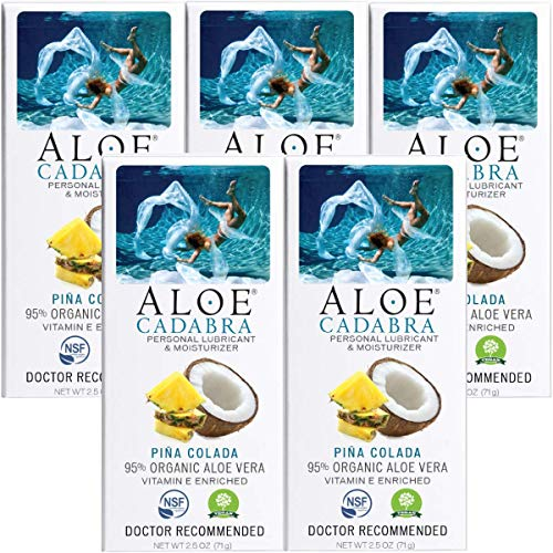 Aloe Cadabra Edible Pina Colada Flavored Lubricant - All Natural for Best Sex Personal Lube & Oral Sex Gel for Men, Women & Couples, 100% Sugar Free, 2.5 Oz (Pack of 5)