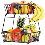 【2 Tiers Design & Extra Large Capacity】Total height: 14.96 inch; Top basket size: 11.22 x 9.57 x 3.54 inch; Bottom basket size: 12.8x 11.22 x 4.33 inch.The 2 large baskets can hold quite a bit of fruit without needing to stack it. This fruit organize...