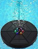 Senders Solar Springbrunnen, 3.5W Solar Teichpumpe mit LED Licht Garten Wasserpumpe Solar Schwimmender Fontäne Pumpe für Gartenteich Oder Springbrunnen Teich Vogel-Bad Fisch-Behälter