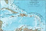 Imagekind Wall Art Print Entitled, Caribbean Map by Vintage Map Store  16x11