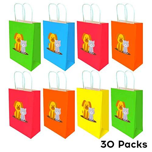 NIMU 30 Stück Regenbogen Papier Partytüten Kindergeburtstag Candy Tüten Süssigkeiten Handwerk Papiertüten Mittagessen Flachboden Papiertüten Cat and Dog Friendship Design Bag