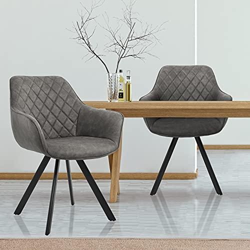 WOMO-DESIGN Set di 2x Sedie da Sala da Pranzo con Schienale e Braccioli Poltroncine in Aspetto...
