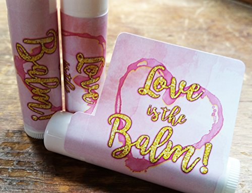 12 Love is the Balm Lip Balm Favors - Bridal Shower Favors - Wedding Favors - Pink and Gold Favors - Love is the Balm
