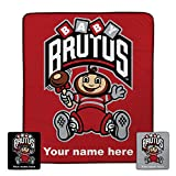 Personalized Ohio State Baby Brutus Pixel Fleece Blanket