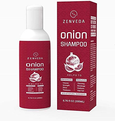 Zenveda Red Onion Natural Shampoo enhances strength enriched with Aloevera Green Tea Extract, Shikakai, Honey suckle and essential oils (200 ml)