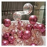 JSJJAUA Globos 20 unids Chrome Metal Gold Silver Balloon Confetti Set Cumpleaños Fiesta Decoraciones Adultos Niños Helio Globo Bolas de Aire Decoración de la Boda (Color : Style C)