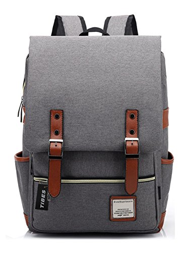 TIBES Casual Laptop Bag School Backpack for Student Light Grey