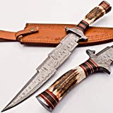 knifehills Rare Custom Blood GROOVED Custom Damascus Fighter Kris Dagger Bowie Knife | STAG Antler Handle (KM-7003)