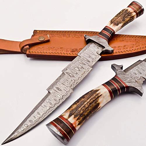 knifehills Rare Custom Blood GROOVED Custom Damascus Fighter Kris Dagger