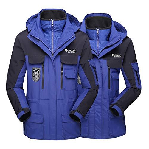 DDLmax - Abrigo deportivo para hombre y mujer, impermeable, con capucha, desmontable, transpirable, para exteriores, Azul oscuro, XXX-Large