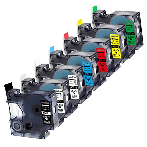 """7-Pack Replace DYMO D1 Label Tape 45010 45013 45016 45017 45018 45019 45021 D1 Refills Compatible DYMO LabelManager 160 280 420P PnP 220P 360D 450 210D, 1/2"""" W x 23' L, 12mm x 7m"""