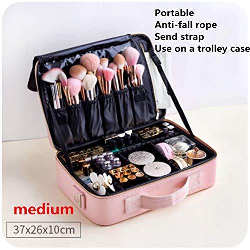 Cosmetische tas met grote capaciteit Vrouwelijke draagbare reisopslag Ins Wind Super Fire Professionele visagist Netto rode koffer Box,B