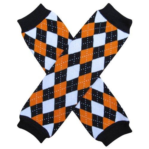 Halloween Costume Spooky Styles Holiday Leg Warmers - One Size - Baby, Toddler, Girl (Argyle Orange & Black)
