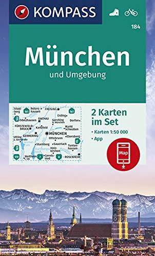 KOMPASS Wanderkarte München und Umgebung: 2 Wanderkarten 1:50000 im Set inklusive Karte zur offline Verwendung in der KOMPASS-App. Fahrradfahren. (KOMPASS-Wanderkarten, Band 184)