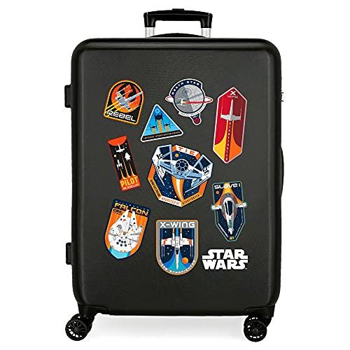 Star Wars Badges Maleta Mediana Negro 48x68x26 cms Rígida ABS Cierre de combinación Lateral 70 3 kgs 4 Ruedas Dobles