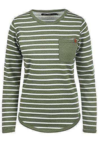 BlendShe Christin Damen Sweatshirt Pullover Sweater Mit Rundhalsausschnitt Und Fleece-Innenseite, Größe:XS, Farbe:Ivy Green (77026)