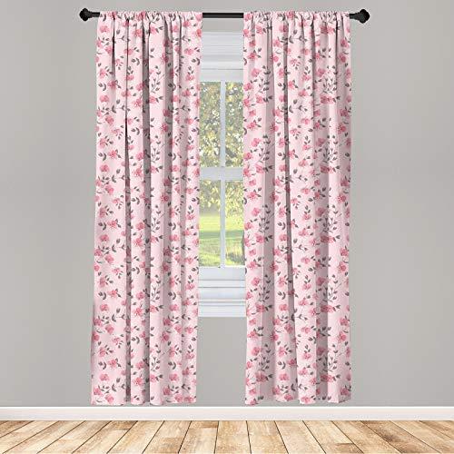 ABAKUHAUS Floral Ensemble de 2 Panneaux de Rideaux, Pétales romantiques Linum Fleurs, Traitement de Fenêtre Léger, 150 cm x 245 cm, Rose pâle et Gris