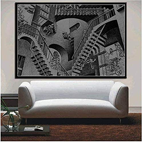 cuadros decoracioncuadroslienzowall art|60x90cm|Frameloos Surrealista geométrico moderno abstracto lienzo aceite pared arte imagen sala de estar