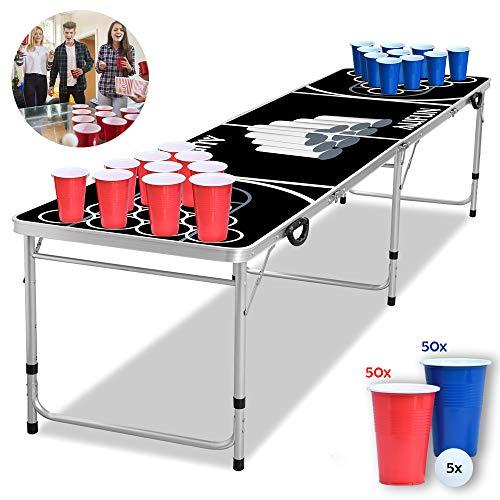Froadp Beer Pong Tische aus Aluminium 240x60x70cm Klappbare Tisch Set Höhenverstellbar Bierpong Tische inkl. 100 Becher und 5 Bälle Belastung 60KG für Party Feier Festival Jährliches Treffen