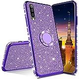 MRSTER Glitzer Hülle Kompatibel mit Samsung Galaxy A90 5G Glitzer Handyhülle Bling Glänzend Strass Diamant Schutzhülle mit 360 Grad Ring Ständer für Samsung Galaxy A90 5G. GS Bling TPU Purple