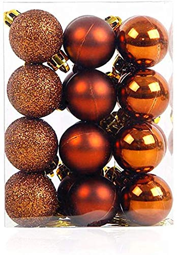 Bstgifts 24Pcs Christmas Mini Balls Ornaments for Xmas Christmas Tree - Small Shatterproof Christmas Tree Decorations Hanging Ball for Holiday Wedding Party Decoration (Orange, 1.2'- 30mm)