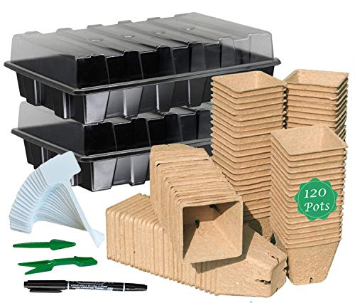 Seed Starter Kit with 120 Peat Pots for Seedlings Seed Starter Tray Plastic Growing Trays 30 Plant Labels Outdoor or Indoor Herb Garden Nursery…