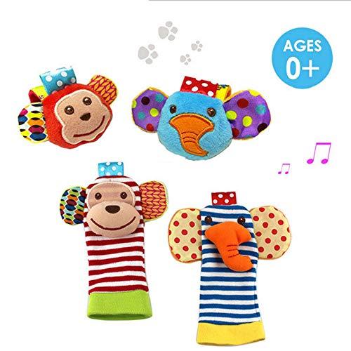 Kobeauty 4 x Cute Animal Infant Baby Plüschtiere - Unisex-Armbanduhr und Socken für 0-12 Monate Baby (2pieces Handgelenk + 2pieces Socken) (AFFE)