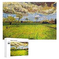 Landscape Under A Stormy Sky by Vincent Van Gogh 大人 子供 300ピースの木製パズル 誕生日 プレゼント 教育ゲーム パズルゲーム ギフト 人気