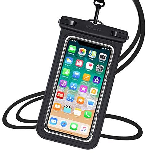 スマホ防水ケース 両面クリア 防水携帯ケース お風呂 雨 雪 釣り適用 防水ポーチ (ブラック)