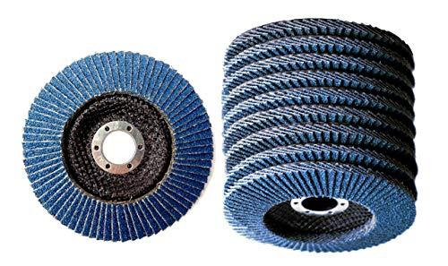 10 Stück Set Mastiff Fächerscheiben ø 125 x 22.2 mm K60 INOX Schleifscheiben Schleifmop Flap Disk für Winkelschleifer Blau Korn P60