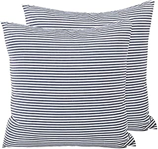 HOPLEE Farmhouse Stripe Pillows Covers 20x20 Navy Blue Tricking Stripe for Home Decor Set of 2
