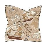 Ahomy - Bufandas cuadradas con diseño de mapa antiguo, brújula para velero, ancla, cuello y bufanda, 60 cm x 60 cm