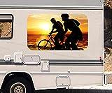 3D Autoaufkleber Fahrrad Meer Strand Sonnenuntergang Wohnmobil Auto KFZ Fenster Motorhaube Sticker Aufkleber 21A321, Größe 3D sticker:ca. 161cmx 96cm