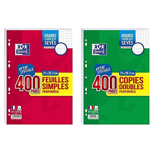 Oxford Lot de 400 Pages Feuilles Simples Grands Carreaux Seyès Format A4 (21x29,7cm) Perforées & Lot 400 Pages Copies Doubles Grands Carreaux Seyès Format A4 (21x29,7cm) Perforées