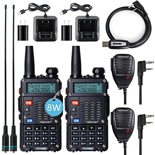 TIDRADIO TD-F9GP Ham Radio Handheld High Power Radio Upgraded UV5R 2 Way Radio with Programming Cable(2Pack-Black)