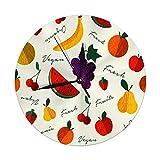 Meili Shop Reloj de Pared Moderno Gran diseño de menú de Fruta Fresca para nutrición y Comida Vegana orgánica Saludable Muere Grandes Relojes Redondos