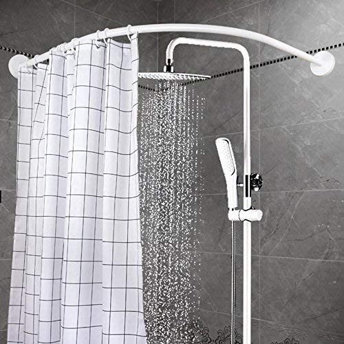 Amazon Com Yoloplus Curved Shower Rod Aluminum Alloy Wall Mount Corner Bathroom Shower Curtain Rod Covers Wall Area Of 35 To 35 Inches Arc Radius 16 Inches Splay Not Ellipse White Home Improvement