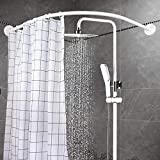 YOLOPLUS+ Curved Shower Rod Aluminum Alloy Wall Mount Corner Bathroom Shower Curtain Rod Covers Wall Area of 35 to 35 Inches, Arc Radius 16 Inches Splay Not Ellipse (White)