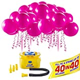 Bunch O Balloons Self Sealing Party Balloons with Portable Electric Air Pump - 40 Self-Sealing Pink Latex Balloons for Celebrations by Zuru