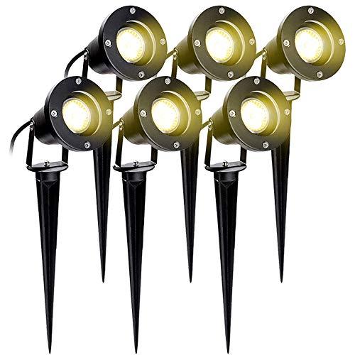 Hengda 6er Pack Gartenleuchte mit Erdspieß 4W GU10 LED IP65 Wasserdicht Gartenbeleuchtung mit Stecker Warmweiß 3000K Außenleuchte für Baum,Teich,Garten [Energieklasse A++]