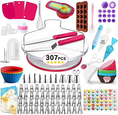 307 Pcs Cake Decorating Supplies Kit -1 Turntable stand-48 Numbered...