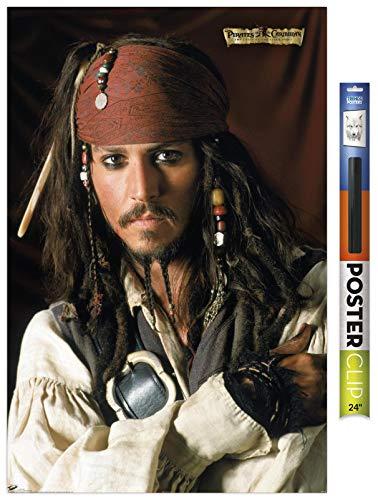 Trends International Disney Pirates: Black Pearl - Johnny Depp Portrait Wall Poster, 22.375' x 34', Premium Poster & Clip Bundle