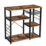 VASAGLE Baker's Rack, Kitchen Shelf with Steel Frame, Wire Basket and 6 Hooks, Multifunctional Storage for Mini Oven, Spices and Utensils, Industrial, Rustic Brown and Black KKS90X