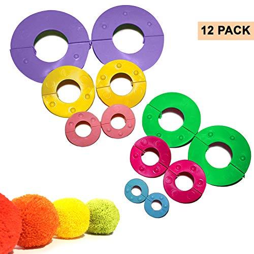 Pom Pom Makers (12-Delig) - Plastic Pom Maker in 6 Maten (9, 7, 5,5, 4,5, 3,5 en 2,5 cm) - Pluizenbolwever voor Doe-het-zelf, Decoratie, Bedeltjes, Geschenken en Meer - Herbruikbare Pompom-set