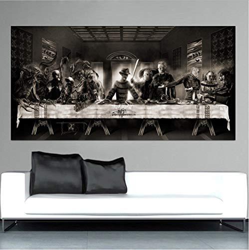 yhnjikl Horror Letzten Abendmahl Freddie Alien Letzten Abendmahl Kunst Leinwand Malerei Poster Home Wall Decor Malerei 35X70 cm Ohne Rahmen