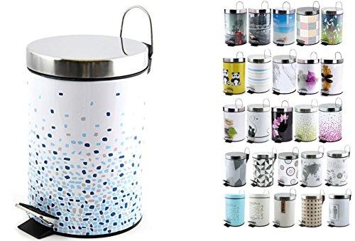 MSV Kosmetikeimer Brest Blau Mülleimer Treteimer Abfalleimer - 3 Liter – mit herausnehmbaren Inneneimer