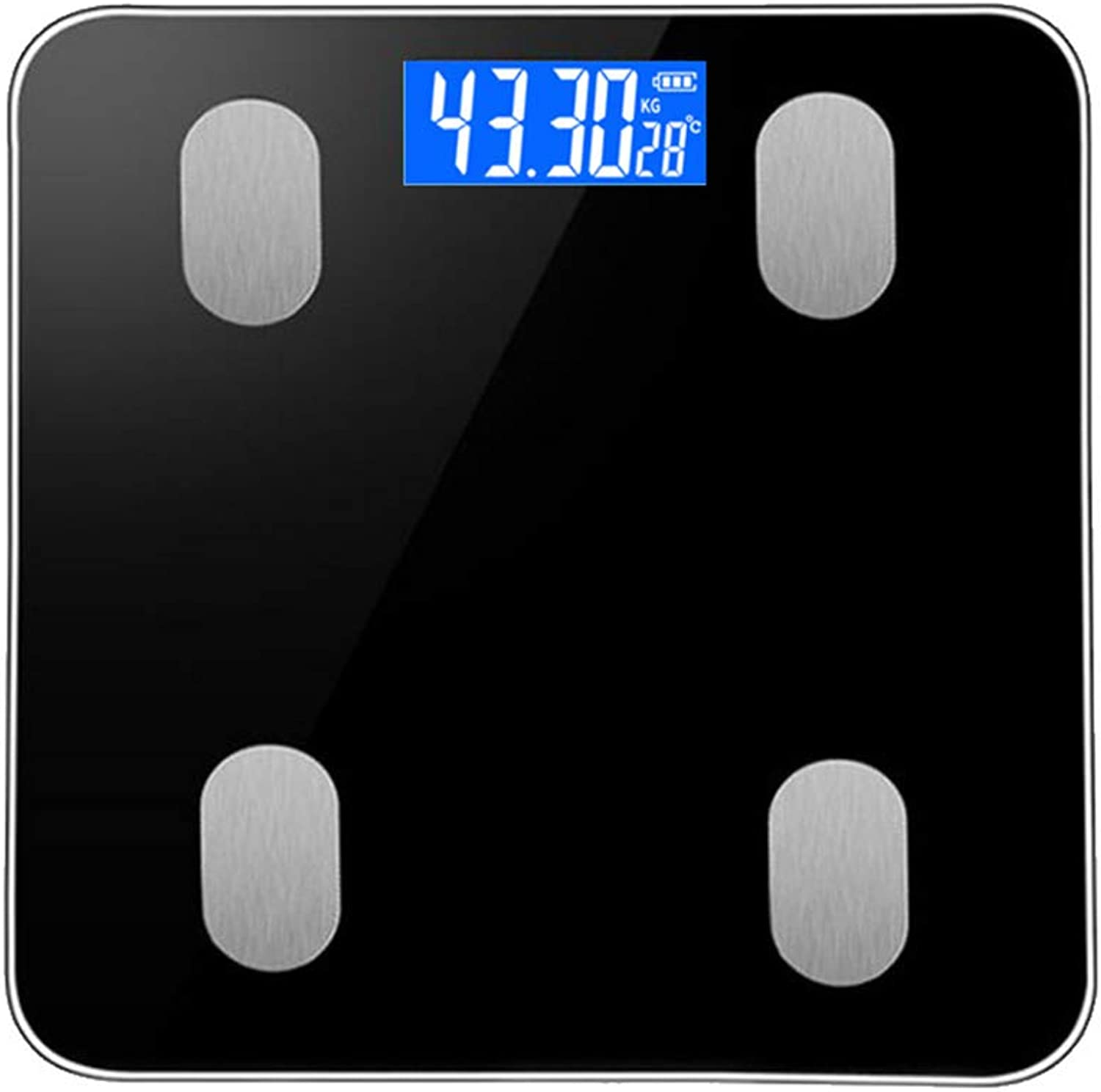 blueeetooth Digital Smart Scale, Body Fat Scale with Tempered Glass LED Display Use for Measures Body Fat Visceral Fat Muscle Mass Bone Mass