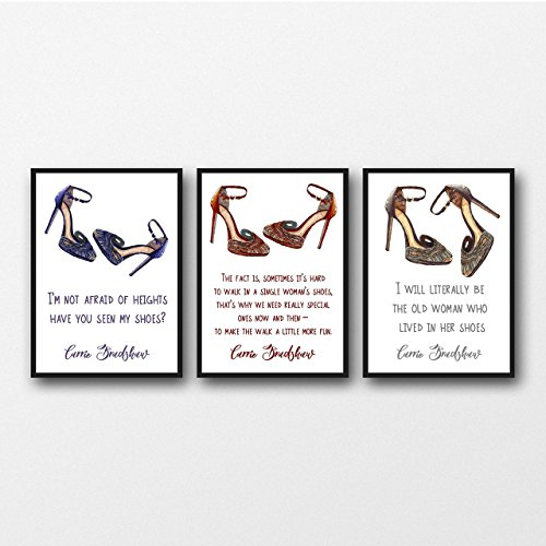 Set of 3 Carrie Bradshaw (Sex and the City) Shoe Quotes Ungerahmter Druck